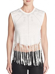 Rebecca Minkoff Gemini Studded Fringed Linen Crop Top Chalk