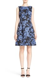 Women's Lela Rose Floral Print Full Skirt Satin Sheath Dress