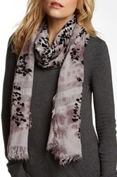 Leigh And Luca Plaid Coal Flock Silk Blend Scarf Gray