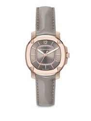 Burberry Britain Diamond 18K Rose Goldplated Stainless Steel And Patent Leather Strap Watch Grey Rose Gold