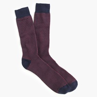 J.Crew Talon Stitch Sock Navy Red Talon
