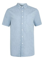 Topman Bleach Washed Denim Short Sleeve Casual Shirt Blue