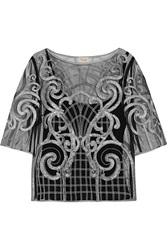 Temperley London Catroux Appliqued Tulle Top Black