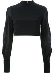David Koma Ruffle Sleeve Cropped Top Black