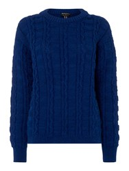 Gloverall Cable Crew Neck Jumper Blue