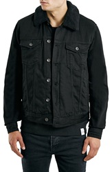 Topman Fleece Lined Black Denim Jacket With Plush Collar