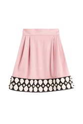 Olympia Le Tan Embellished Wool Skirt Rose
