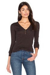 Enza Costa Cashmere Cuffed V Neck Top Brown