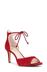 Nine West Women's Inesia Ankle Strap Sandal Red Suede