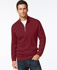 Tommy Bahama Men's Big And Tall Flip Side Reversible Zip Neck Sweater Ruby Red Heather
