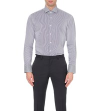 Hugo Boss Pinstripe Cotton Shirt Dark Purple
