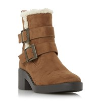 Head Over Heels Panya Buckle Shearling Lined Ankle Boots Tan