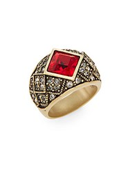 Heidi Daus A Touch Of Elegance Tailored Brilliance Swarovski Crystal Ring Gold Red