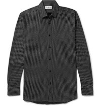 Saint Laurent Star Print Twill Shirt Black