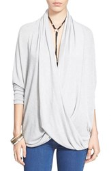 Women's Free People Drapey Wrap Front Knit Top Ivory Combo