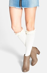 Kensie Pointelle Detail Ruffle Knee High Socks Ivory