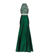 Jovani Embellished Two Piece Gown Female Emerald