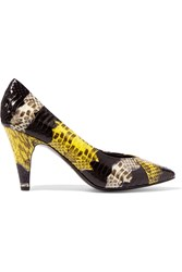 Sandro Printed Watersnake Pumps Yellow