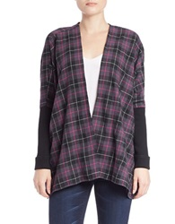 Buffalo David Bitton Open Front Plaid Cardigan Wine Combo