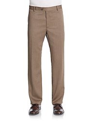Saks Fifth Avenue Slim Fit Wool Trousers Rust Copper