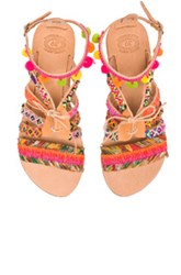 Elina Linardaki Hula Hoop Leather Sandals In Neutrals Pink Floral
