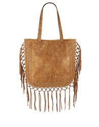 Steve Madden Shay Fringed Faux Leather Tote Tan