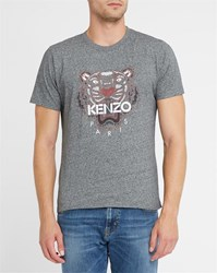 Kenzo Charcoal Embroidered Tiger Round Neck T Shirt Grey