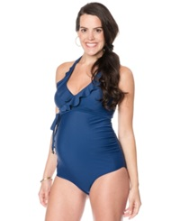 Motherhood Maternity Ruffle Halter One Piece Swimsuit