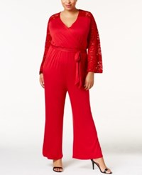 American Rag Trendy Plus Size Lace Sleeve Jumpsuit Only At Macy's Chilli Red