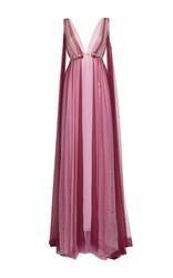 Luisa Beccaria Tulle Bicolor V Neck Gown With Flowers Details Multi