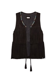 Talitha Embroidered Fringed Suede Gilet