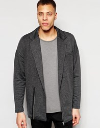 Asos Oversized Jersey Blazer In Grey Grey