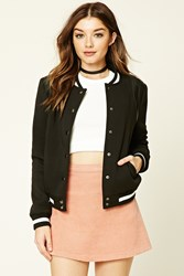 Forever 21 Faux Leather Trim Bomber Jacket Black White