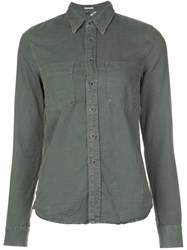 Mother Pocketed Button Down Shirt Green