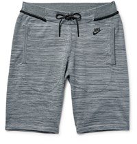 Nike Melange Tech Knit Cotton Blend Shorts Gray
