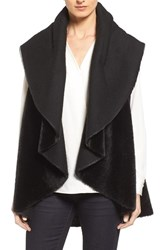 Kenneth Cole Women's New York Drape Faux Fur Vest Black