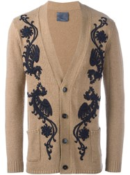 Laneus Floral Embroidery Cardigan Brown