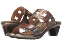 Naot Footwear Chic Maple Brown Leather Mirror Leather Pewter Leather Women's Sandals