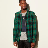Coach Plaid Zip Shirt Green Plaid