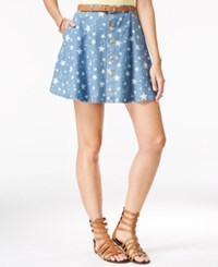 American Rag Star Print Denim Mini Skirt Only At Macy's Multi