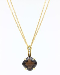 Frederic Sage 18K Yellow Gold Smoky Quartz Diamond Pendant Necklace