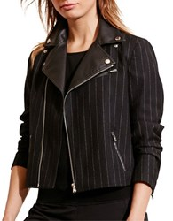 Lauren Ralph Lauren Pinstriped Wool Moto Jacket Black Cream