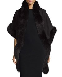 Sofia Cashmere Fox Trim Shawl Black