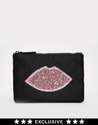 Lulu Guinness Asos Exclusive Glitter Lips Make Up Bag