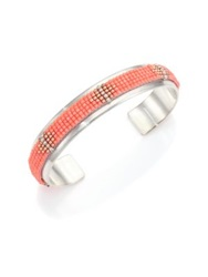 Chan Luu Beaded Sterling Silver Cuff Bracelet Silver Coral