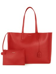 Saint Laurent Large Leather Tote Red
