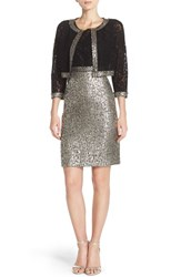Women's Kay Unger Lace And Metallic Tweed Sheath And Jacket