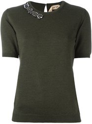 N 21 No21 Embellished Neck Knitted T Shirt Green