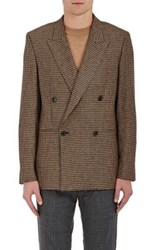 Paul Smith Men's Houndstooth Camel Hair Wool Double Breasted Sportcoat Tan