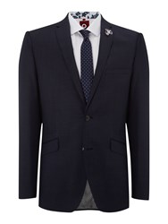 Lambretta Pin Dot Notch Collar Slim Fit Suit Blue